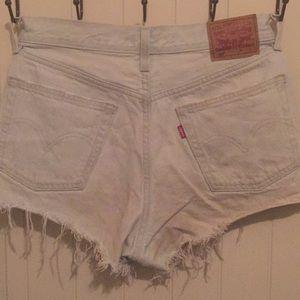Women's distressed Levi's 501 denim shorts
